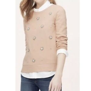 Ann Taylor Loft Jeweled Rhinestone Sweatshirt M